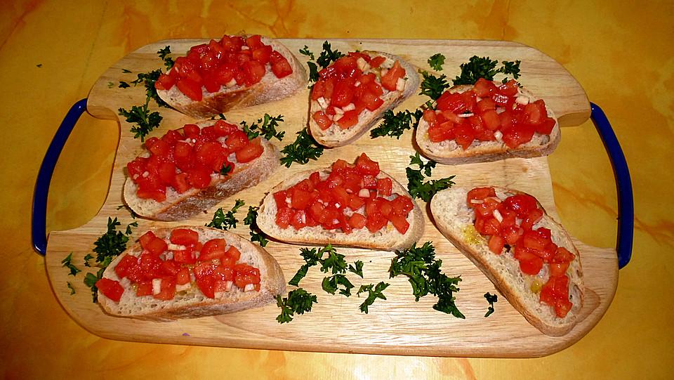 leckere Brote Bruschetta mit Tomaten