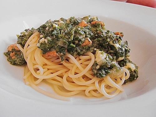 spaghetti mit spinat und schafsk se rezept mit bild. Black Bedroom Furniture Sets. Home Design Ideas