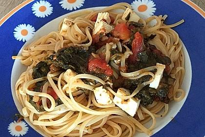 Spaghetti mit Spinat und Schafskäse 0