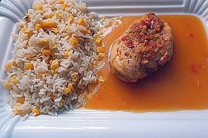 Scharfes Hähnchen mit Honig und Orangensaft