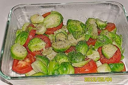 Rosenkohl, mit Tomaten und Schmelzkäse überbacken 3