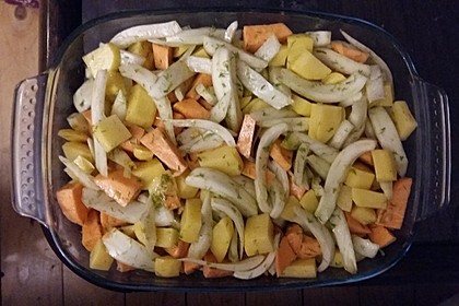 Süßkartoffel - Kartoffel - Fenchel - Auflauf 7