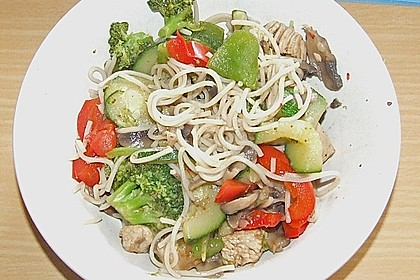 Wokgemüse mit Putenfleisch