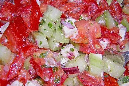 Gurken, Tomaten, Feta Salat 14