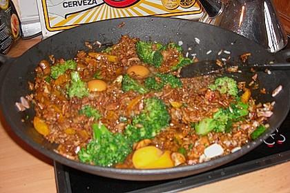 Gebratener Reis mit Ei und gekochtem Schinken 1