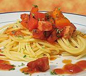 Paprika-Geschnetzeltes mit Leberkäse (Bild)
