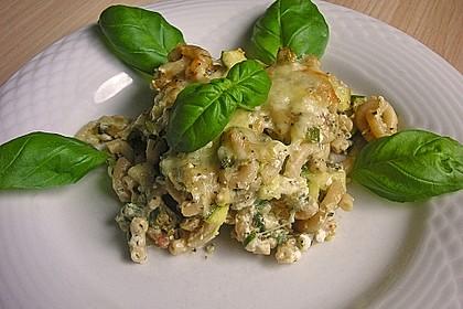 Nudelauflauf mit Hüttenkäse und Zucchini 1