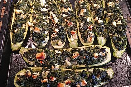 Zucchini mit Ziegenkäse - Spinat - Füllung 3
