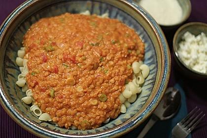 Linsenbolognese mit Pasta und Frühlingszwiebeln 16