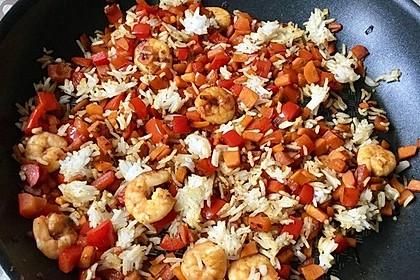 Garnelen - Paprika - Möhren - Reis - Pfanne 4