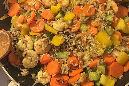 Garnelen - Paprika - Möhren - Reis - Pfanne 5
