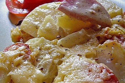 Sahniges Kartoffel - Fleischwurst - Gratin 7