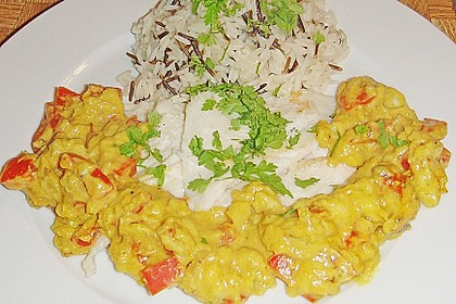 Seelachsfilet mit Curry - Bananen Soße 1