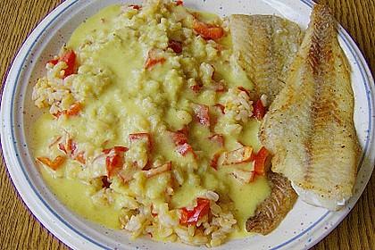 Seelachsfilet mit Curry - Bananen Soße