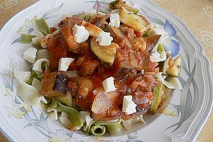 Gemüse - Knoblauch - Nudeln mit Schafskäse 0