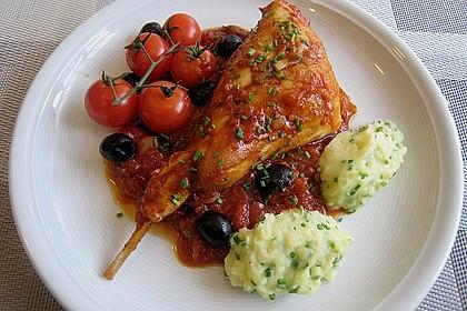 Kaninchenkeulen mit Weißwein und Oliven