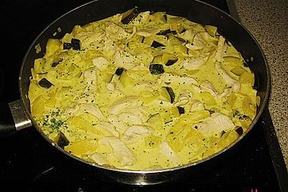 Putengeschnetzeltes mit Curry - Sauce süß - sauer