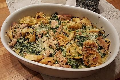 Gnocchi - Spinat - Auflauf mit Hähnchen und Curry