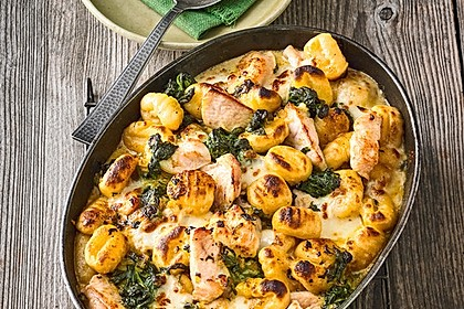 Gnocchi - Spinat - Auflauf mit Hähnchen und Curry 4