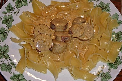 Grobe Bratwurst in Senf - Sahne - Sauce 12
