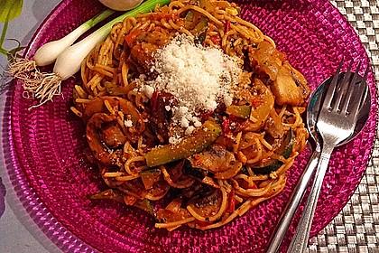 Spaghetti mit Zucchini und Pilzen 0