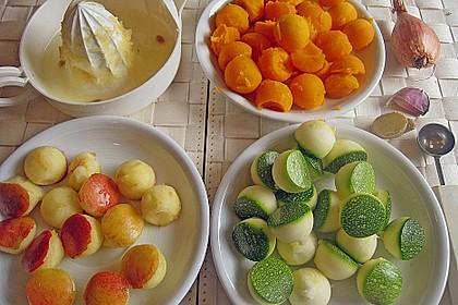 Blauleng und Krabben mit Apfel - Kürbis - Zucchini - Kugeln und Kartoffel - Avocado - Püree 3