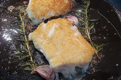 Blauleng und Krabben mit Apfel - Kürbis - Zucchini - Kugeln und Kartoffel - Avocado - Püree 2