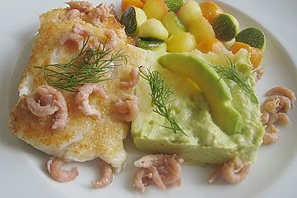 Blauleng und Krabben mit Apfel - Kürbis - Zucchini - Kugeln und Kartoffel - Avocado - Püree