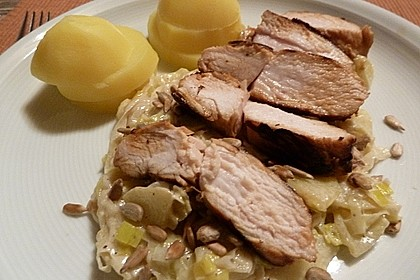 Hähnchenbrustfilet asiatisch mariniert auf Apfel - Porreegemüse 3