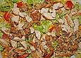 Salat mit Putenstreifen und Champignons