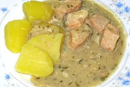 Bratkartoffeln mit Fisch in Senfsauce 3