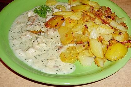 Bratkartoffeln mit Fisch in Senfsauce 1