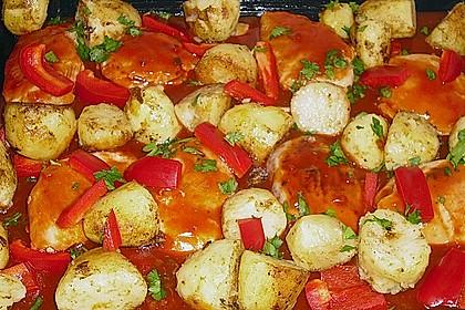 Hähnchen in Barbecuemarinade mit Kartoffeln 12