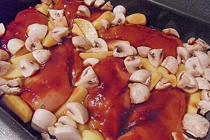 Hähnchen in Barbecuemarinade mit Kartoffeln 11
