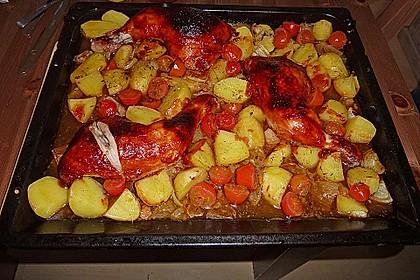 Hähnchen in Barbecuemarinade mit Kartoffeln 8