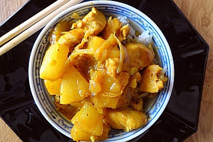 Hähnchen - Ananas - Curry mit Reis 1