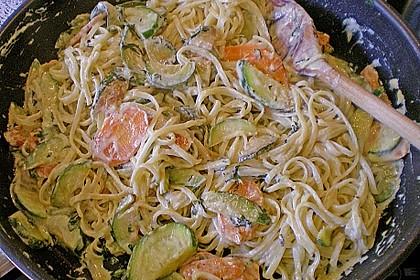 Nudeln mit Zucchini - Möhren - Sauce 3