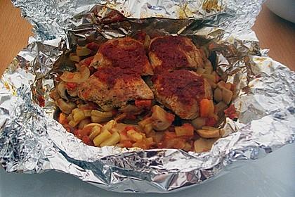 Hühnerbrustfilet mit Gemüse in der Folie gegart 6