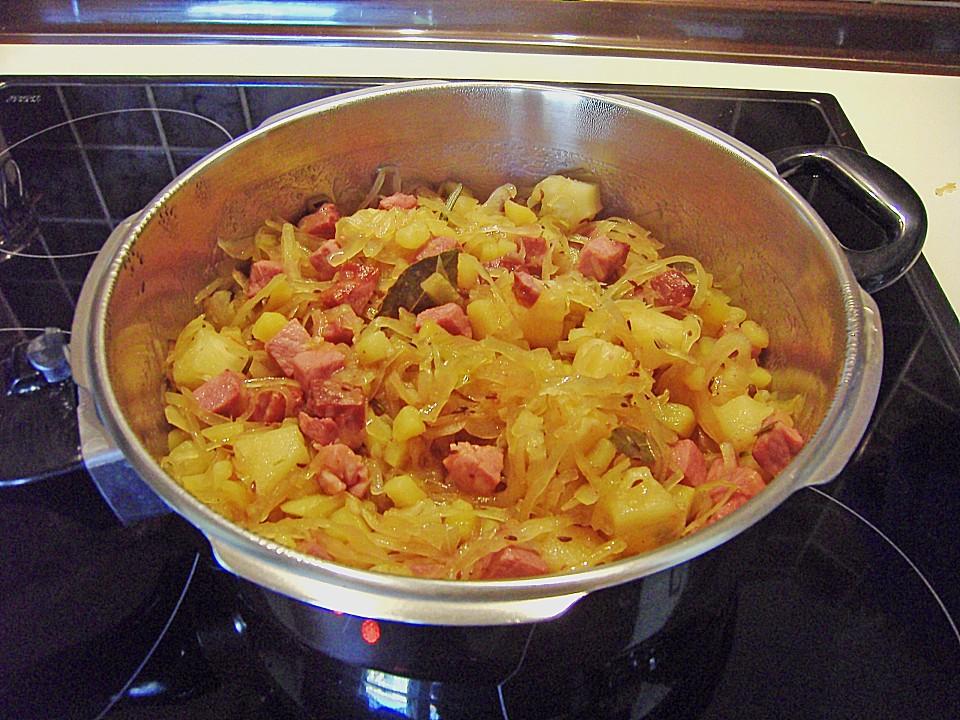 Sauerkraut - Kasseler - Kartoffel - Pfanne mit Ananas ...