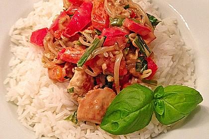 Paprika - Kokos - Curry mit Putenfleisch und Reis