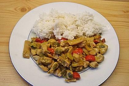Paprika - Kokos - Curry mit Putenfleisch und Reis 2