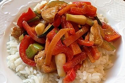 Paprika - Kokos - Curry mit Putenfleisch und Reis 3