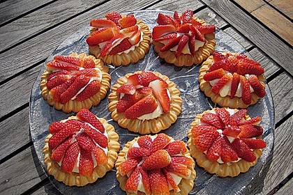Torteletts mit Mascarpone - Erdbeer - Belag