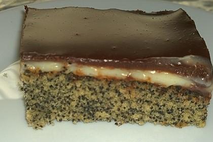 Mohnkuchen mit Vanillecreme und Schoko 2