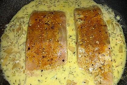 Pochierter Lachs in Sekt - Limetten - Sauce 5