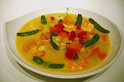 Kokos - Curry - Suppe mit Garnelen