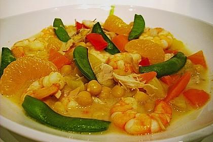 Kokos - Curry - Suppe mit Garnelen 1