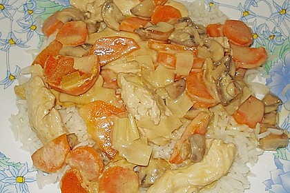 Hähnchengeschnetzeltes mit Champignons und Möhren 1