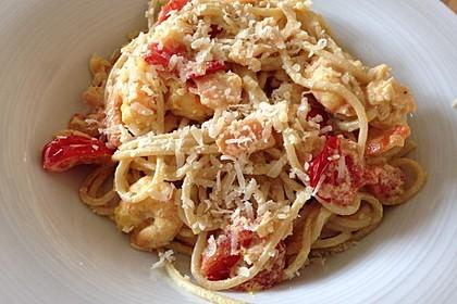 Spaghetti mit Garnelen 12