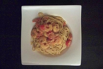 Spaghetti mit Garnelen 40